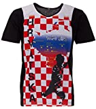 LUCKY WM 2018 Kroatien Hrvatska Herren T-Shirt Fußball Weltmeisterschaft Trikot, Farbe:Rot, Größe:XL