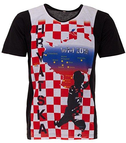 LUCKY WM 2018 Kroatien Hrvatska Herren T-Shirt Fußball Weltmeisterschaft Trikot, Farbe:Rot, Größe:L
