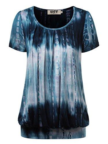 djt-damen-casual-falten-kurzarm-t-shirt-mit-stretch-rundkragen-blau-5-l