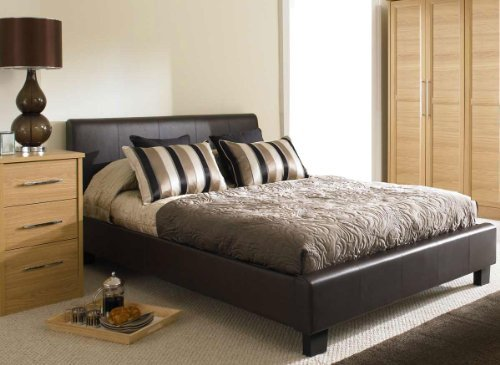 BROWN FAUX 4ft 6 LEATHER MODERN DOUBLE SIZE BED FRAME by Stag Stores