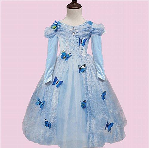 Girl 's Mädchen Party Outfit Fancy Kleid Snow Queen Prinzessin Halloween Kleidung Karneval Cosplay Kleid–Lange Ärmel ()