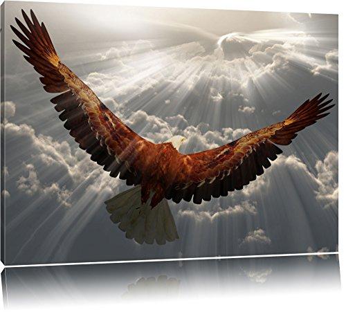 Adler über den Wolken Format: 100x70 auf Leinwand, XXL riesige Bilder fertig gerahmt mit Keilrahmen, Kunstdruck auf Wandbild mit Rahmen, günstiger als Gemälde oder Ölbild, kein Poster oder Plakat (Adler Bilder)