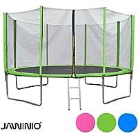 Preisvergleich für Jawinio Trampolin 366 cm (12F) Gartentrampolin Jumper Komplett-Set inkl. Leiter, Sicherheitsnetz und Sprungmatte Grün, Pink Oder Blau