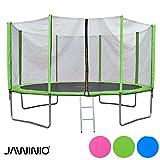 Jawinio Trampolin 425 cm (14F) Gartentrampolin Jumper Komplett-Set inkl. Leiter, Sicherheitsnetz und Sprungmatte Grün, Blau Oder Pink (Grün)