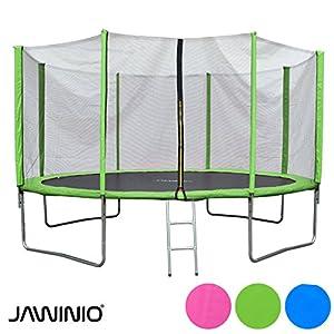 Jawinio Trampolin 425 cm (14F) Gartentrampolin Jumper Komplett-Set inkl. Leiter, Sicherheitsnetz und Sprungmatte Grün, Blau Oder Pink