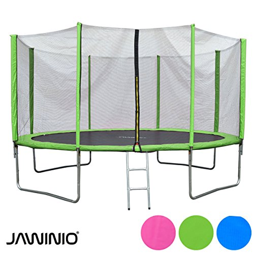 Jawinio Trampolin 366 cm (12F) Gartentrampolin Jumper Komplett-Set inkl. Leiter, Sicherheitsnetz und Sprungmatte Grün, Pink oder Blau (Grün)