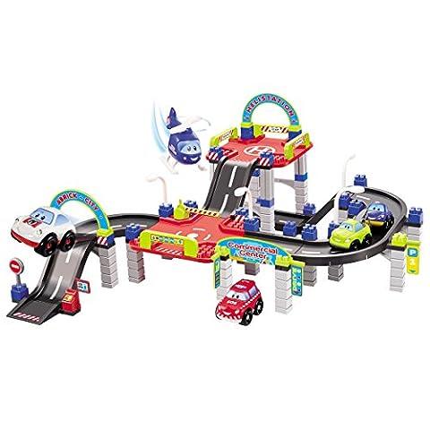 Bausteine City3 Parkgarage mit Spielstrasse, 5 Fahrzeuge, kombinierbar: Baby Kinder Park Garage Autogarage Spielzeug Parkhaus 5 Spiel Autos