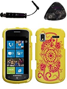 mobile accessories SAMSUNG i917 (Focus) Exotic Yellow Phone Protector Cover Design Snap on Hard Shell Faceplate AND HiShop(TM) Stylus, Guitar Pick/Pry Tool