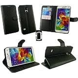Emartbuy® Samsung Galaxy S5 Premium Carbon Schwarz Finish Brieftaschen Etui Hülle Wallet Case Cover und Stundfunktion mit Kreditkartenfächern