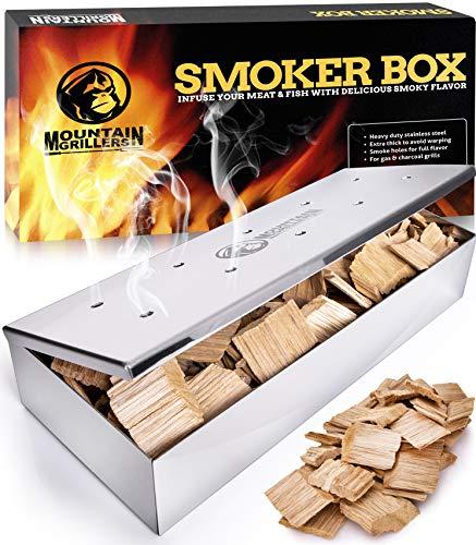 Affumicatore barbecue – smoker box per affumicare la carne alla griglia e ottenere un sapore delizioso - prodotto robusto in acciaio inox e coperchio incernierato - adatto per tutti i tipi di bbq