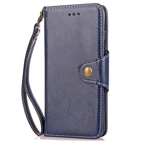 Texture de la cire d'huile Patten Retro Folio Flip Stand Case Housse de protection en magnétique en cuir PU avec cordon et support pour Samsung Galaxy A5 2017 et A520 ( Color : Black ) Blue
