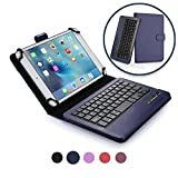 Custodia Tablet 7-8 Pollici Tastiera Wireless, Cover Protettiva Cooper Infinite Executive 2-in-1 Tastiera Bluetooth Magnetica Antiurto Windows Android A Libro Pelle Viaggio con Supporto (Viola)