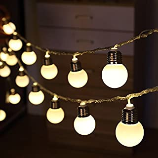 AntEuro Solar Bulb Lights, 6M 20 LED Plastic Solar Bulbs String Lights Waterproof with 2 Modes Lighting for Outdoor, Garden, Christmas Decorations (Warm White)