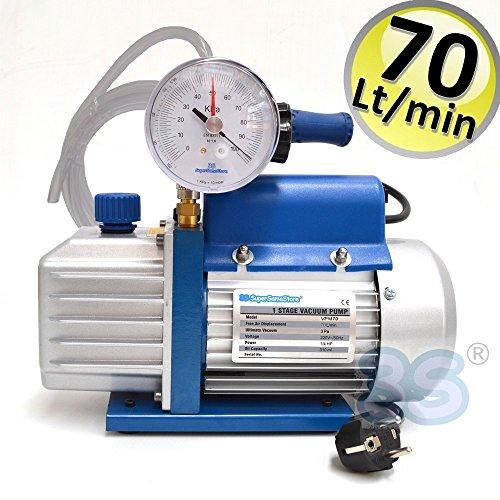 Pompa del vuoto 70 lt/min con vacuometro e rubinetto - 2 mt di tubo vinilico in dotazione