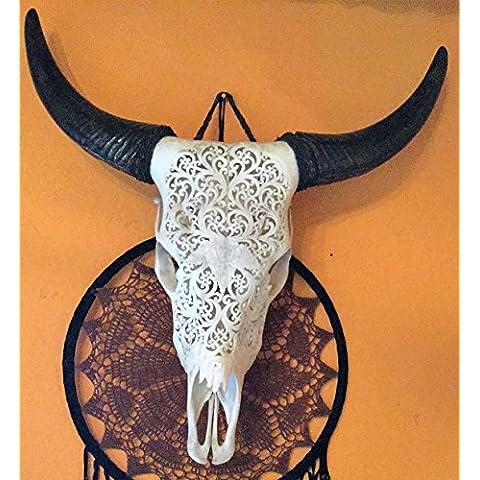 Long horn Real Bone Carving testa di
