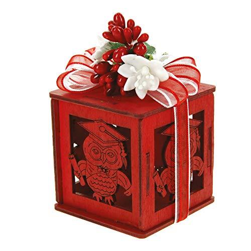 Alice's decorations bomboniere fai da te scatoletta in legno confetti e laurea confezione da 12 pz