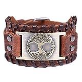Vintage Amuleto Norvegese Vichingo Albero della Vita Yggdrasil Nodo celtico Bracciale in pelle marrone per uomo (pelle marrone, bronzo antico)
