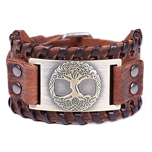 Vintage Amulett nordischen Viking Baum des Lebens Yggdrasil keltischen Knoten Metall braun Lederarmband für Männer (braunes Leder, antike Bronze) - Kleidung Viking