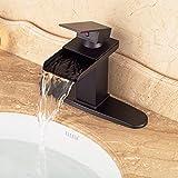 CZOOR Badezimmer-Wannen-Mischer-Hahn-Qualitäts Günstige Wasserfall Einhebel-Küchenarmatur mit Loch Abdeckplatte Öl eingerieben Bronze