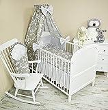 Amilian® Bettset mit Nestchen Kinderbettwäsche Himmel 100x135cm NEU Vollstoffhimmel Retro Weiß auf Grau (9 tlg) Rüsche Babyhörnchen
