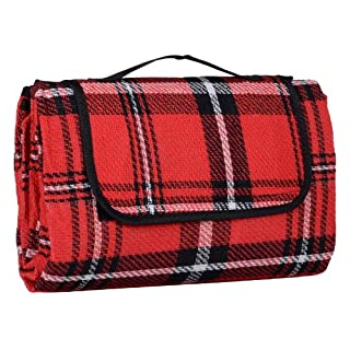 Azuma 130 x 150cm Folding Picnic Blanket Waterproof Backing Red Tartan Acrylic Rug Mat