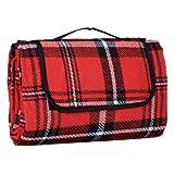 Red Tartan Folding Acrylic Blanket Camping Beach Waterproof Picnic Mat Rug