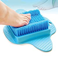 Foot Scrubber Massage Washer Brush Feet Exfoliating Cleaning SPA Beauty Brush for Shower Bathroom with Suction Cups by Pinzz (Blue)