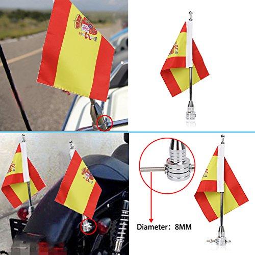 """Bandera de motocicleta poste y 6 """"X9"""" Bandera de España para Harley Davidson Yamaha Honda Suzuki"""