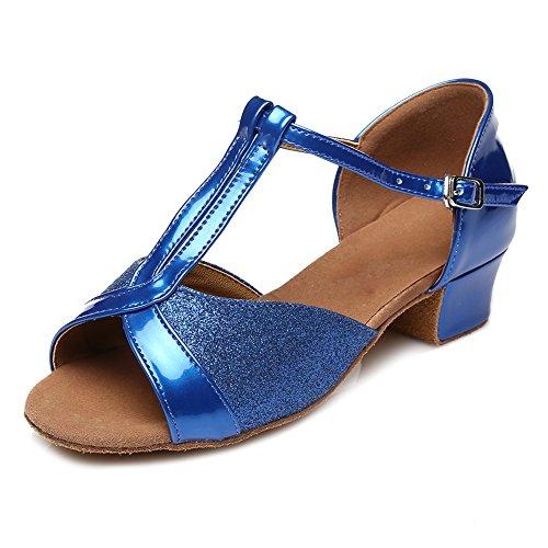 SWDZM Donna Scarpe da ballo/Scarpe da ballo latino standard Raso Ballroom Model-IT-305 Blue