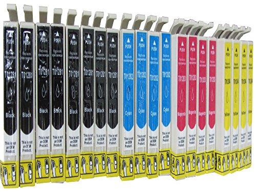 20 cartuchos de tinta para EPSON Stylus Office BX 305 305F/EPSON Stylus S 22/EPSON Stylus SX 125 130 230 235 W 420 420420 420 W 425 425425 425 W 435 435435 435 W 440 440440 440 W 445 445445 445 W (Compatible) los 8 x 4 x 4 x negro azul rojo amarillo