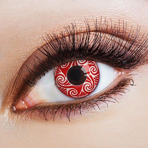aricona Farblinsen Manga & Anime Kontaktlinse Red Wave   – Deckende, farbige Jahreslinsen für dunkle und helle Augenfarben ohne Stärke, Farblinsen für Cosplay, Karneval, Fasching, Halloween Kostüme