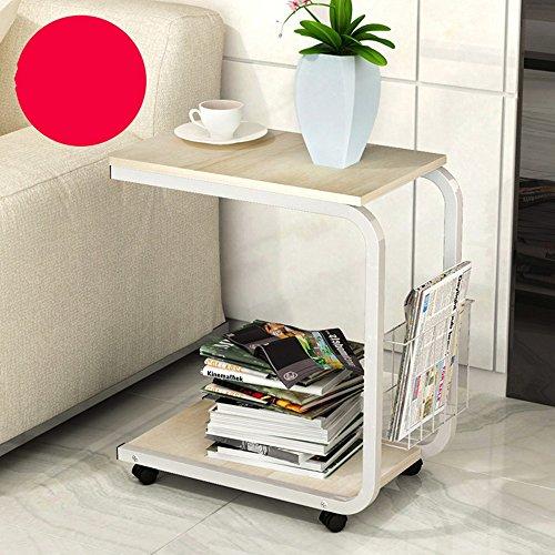 Zhuozi FUFU Wandhalterung Beistelltisch Mobile Beistelltisch für Kaffee Laptop Tablet Folien neben Sofa mit Metallrahmen Roll Casters Drop-Blatt-Tabelle (Farbe : 1002) -