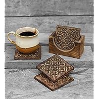 Store Indya, Set in legno di 4 sottobicchieri quadrati per il te bevande di caff? con supporto intagliato a mano floreale Motif, Cucina Bicchieri Accessori - Bustine Di Tè Nozze