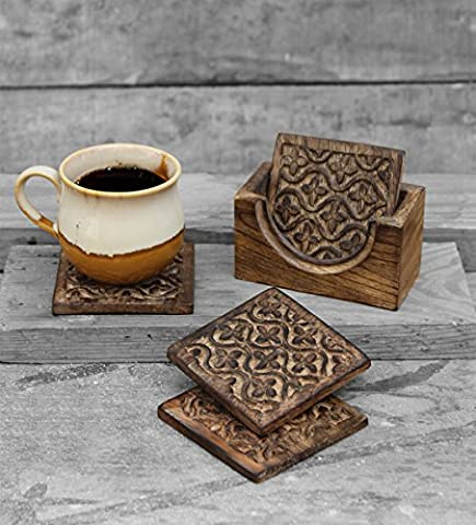 Set of 4 Square Drink Coasters for Tea Coffee Beer Mug Wine Glass with Holder Hand Carved with Floral Motif Barware Kitchen Dining Accessories