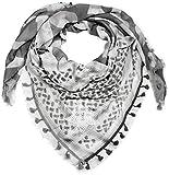 styleBREAKER Dreieckstuch XXL mit Camouflage Mustermix, Pailletten Stern, Quasten und Fransen, Schal, Tuch, Damen 01016169, Farbe:Dunkelgrau-Weiß