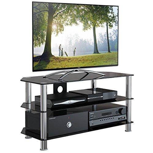 """1home Mobile Porta TV di Vetro Nero per LCD LED e Plasma TV da 32"""" a 60"""" GT4 - 2"""
