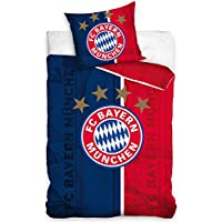 Fc Bayern München Bettwäsche Bettbezug Set Fußball 160x200 Blau - Rot 01