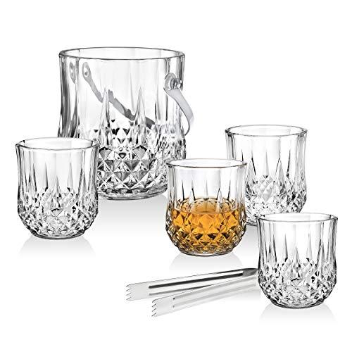 Barware Old Fashioned Tumbler Gläser und Eiseimer mit Zange Set - für Whiskey, Scotch, Cocktails oder Wodka Old Fashioned Cocktail