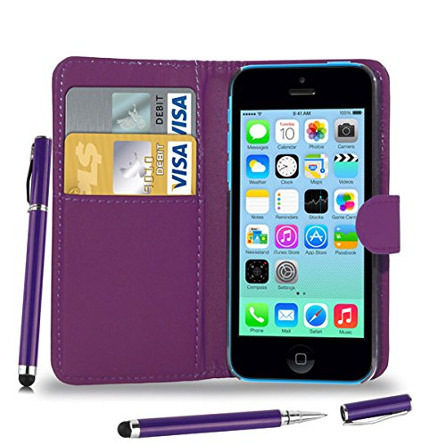 Apple iPhone 5C - Leder Brieftasche Tasche Buch + 2 in 1 Stylus Pen + Screen Protector & Poliertuch ( Blue ) Dark Purple