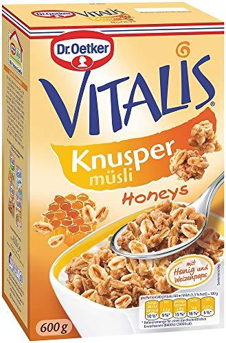 Dr. Oetker Vitalis Knusper Honeys: Knuspermüsli mit Honig, für Frühstück und Zwischendurch, 5er Packung (5 x 600g)