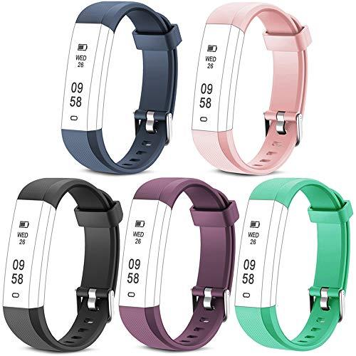 Rayfit Pulseras de Repuesto para Fitness Tracker ID115U / 115U/ 115UU Monitor de Actividad Banda Reemplazo Correa de Reloj Inteligente (Rosa +Verde + Púrpura + Azul + Negro)