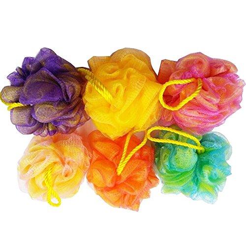 6er-Packungqualitativ hochwertige Dusch-Schwämme aus Netzgewebe, Körper-Peeling-Bausch, Bade-Schrubber, sortierte Farben, (50 g pro Stück) - Peeling Körper-schwamm