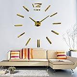 KESOTO Groß XXL 3D Wand Uhr Wanduhr Wandtattoo Wandsticker Aufkleber Spiegel Deko für Wohnzimmer - Gold #3