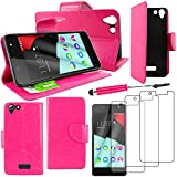 ebestStar - Wiko Selfy 4G Hülle Kunstleder Wallet Case Handyhülle [PU Leder], Kartenfächern, Standfunktion + Mini Stift +3 Schutzfolies, Pink [: 141 x 68.4 x 7.7mm, 4.8'']