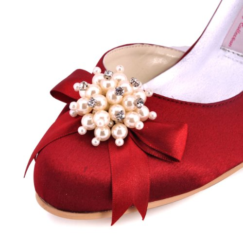 Elegantpark 100114 bout Rond Perle Bijoux Femmes Satin Confort Chaussures de Mariee Mariage Bordeaux