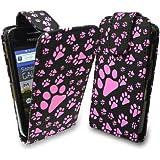 StyleBitz étui souple et élégant pour Samsung Galaxy Ace S5830, motif pattes de chat et de chien (rose et noir)