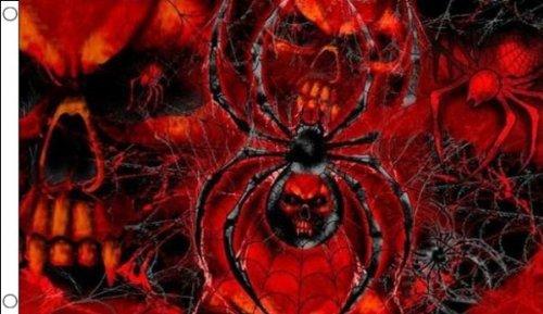 5ft x 3ft (150x 90cm) Totenkopf mit Spinnen Spider Gothic 100% Polyester Material Flagge Banner Ideal für Vereine Party Dekoration