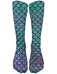 Womens Green Mermaid Scales Socks Colorful Funny Casual Cotton Crew Socks