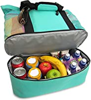 endosy Aruba Mesh Beach Tote Bag, Multi-function Picnic Beach Bag With Zipper Top And Insulated Picnic Cooler