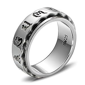 Amody Sterlingsilber Retro Ring Sechs Wörter Mantra Om Mani Padme Hum Ringe für Männer